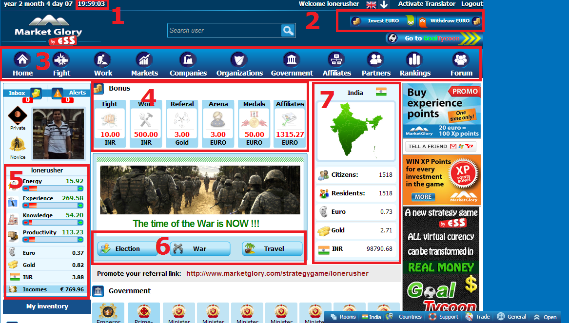 Earn money playing Market Glory Game